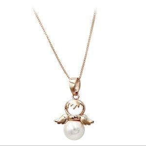 Ocean Fashion Jewelry - Rose gold lovely pearl angel necklace